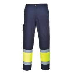 Ostrzegawcze, dwukolorowe spodnie bojówki