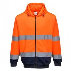 Tweekleurige Sweatshirt met ritssluiting en capuchon
