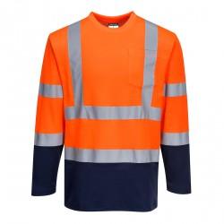 Dwukolorowa koszulka t-shirt Cotton Comfort z długimi rękawami